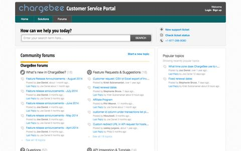 Screenshot of Support Page chargebee.com - Discussions : Customer Service Portal - captured Oct. 28, 2014