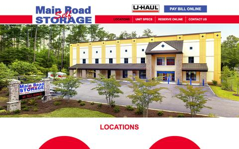 Screenshot of Locations Page mainroadstorage.com - Summerville & Johns Island Locations | Main Road Storage - captured Feb. 4, 2016