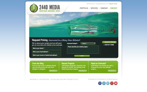 Screenshot of Pricing Page 2440media.com - Request a Web Design Quote | 2440 Media - captured Oct. 27, 2014