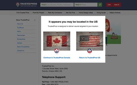Screenshot of Contact Page trustedpros.ca - Contact TrustedPros - captured Feb. 16, 2016