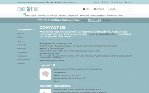 Screenshot of Contact Page Support Page peartreegreetings.com - Customer Service Main | Pear Tree Greetings - captured Oct. 22, 2014