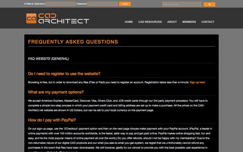 Screenshot of FAQ Page cad-architect.net - CAD Architect | Frequently Asked Questions - captured Oct. 29, 2017
