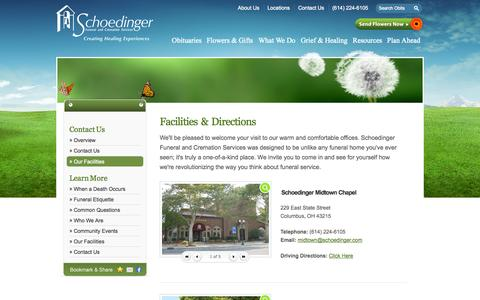 Screenshot of Locations Page schoedinger.com - Our Facilities | Schoedinger Funeral and Cremation Services - Columbus, OH - captured Oct. 4, 2014
