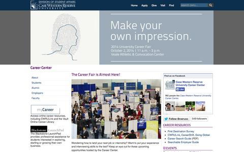 Screenshot of Jobs Page case.edu - The Career Fair is Almost Here! - CWRU - captured Sept. 13, 2014