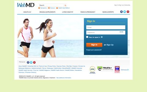 Screenshot of Login Page webmd.com - WebMD - Better Information. Better Health. - captured Oct. 29, 2014