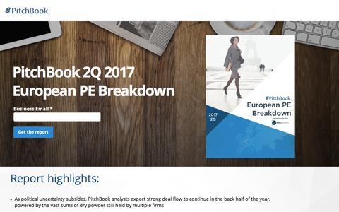 Screenshot of Landing Page pitchbook.com - PitchBook 2Q 2017 European PE Breakdown - captured Sept. 7, 2017