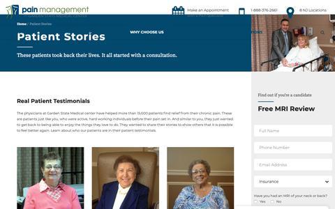 Screenshot of Testimonials Page gsmedicalcenter.org - Patient Stories - Pain Management at Garden State Medical Center - captured Sept. 27, 2018