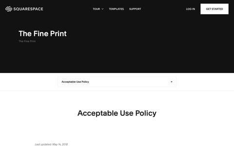 Screenshot of Terms Page squarespace.com - Acceptable Use Policy – Squarespace - captured Feb. 11, 2019