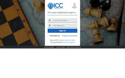 Screenshot of Login Page chessclub.com - ICC Sign in - captured May 15, 2018