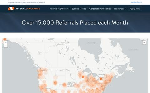 Screenshot of Maps & Directions Page referralexchange.com - Over 15,000 Referrals Placed each Month - ReferralExchange - captured April 13, 2016