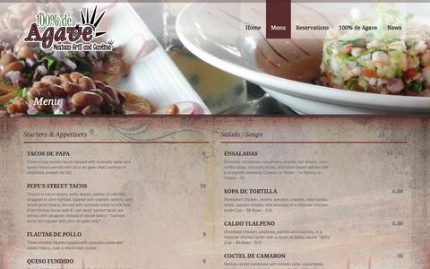 Screenshot of Menu Page 100deagave.com - mexican food menu denver - 100% De Agave - captured March 26, 2016
