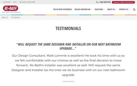 Screenshot of Testimonials Page rebath.com - Testimonials | Re-Bath Bathroom Remodeling | About Us - captured Nov. 19, 2016
