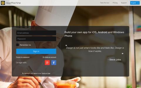 Screenshot of Login Page appmachine.com - AppMachine - captured Jan. 25, 2016