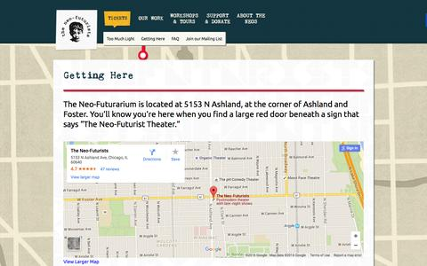 Screenshot of Maps & Directions Page neofuturists.org - Getting Here – - captured Feb. 28, 2016