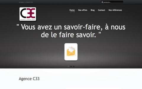 Screenshot of Home Page c33.ch - Agence C33, l'efficience des grands groupes adaptée à vos besoins. - captured Feb. 5, 2016