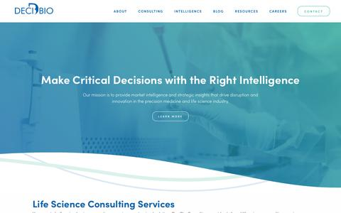 Screenshot of Home Page decibio.com - Life Science Consulting & Diagnostics Market Intelligence Firm | DeciBio - captured July 14, 2019