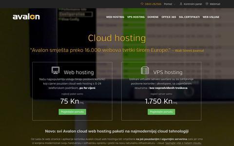 Screenshot of Home Page avalon.hr - Cloud hosting  - Avalon hosting - captured Sept. 19, 2014