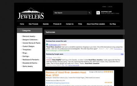 Screenshot of Testimonials Page hoodriverjewelers.com - Testimonials : Zen Cart!, The Art of E-commerce - captured Sept. 30, 2014