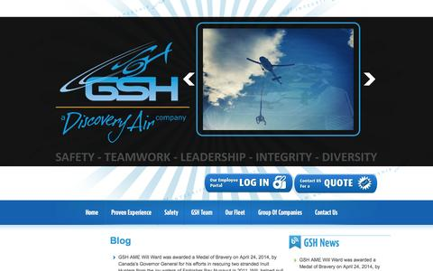Screenshot of Blog gsheli.com - Blog | Great Slave Helicopters - captured Oct. 3, 2014