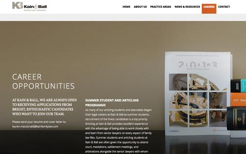 Screenshot of Jobs Page kainfamilylaw.com - Careers - Kain & Ball - captured Oct. 6, 2014