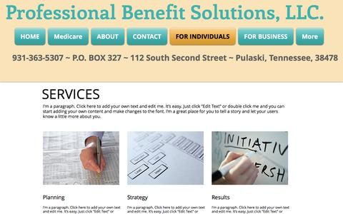 Screenshot of Services Page pbsllcinsurance.com - Professional Benefit Solutions| Health Insurance| Middle TN | FOR INDIVIDUALS - captured Nov. 14, 2016