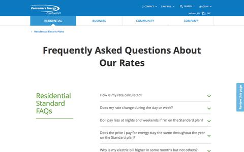 Screenshot of FAQ Page consumersenergy.com - Frequently Asked Questions About Our Rates | Consumers Energy - captured July 3, 2018