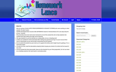 Screenshot of About Page homeworklance.com - About Us « Homework Lance Online Homework Help Homework Lance Online Homework Help - captured Sept. 30, 2014