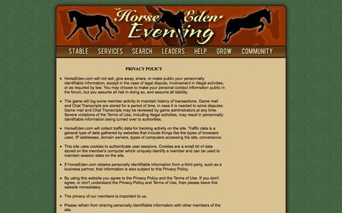 Screenshot of Privacy Page horseeden.com - Horse Eden Eventing - captured Sept. 19, 2014