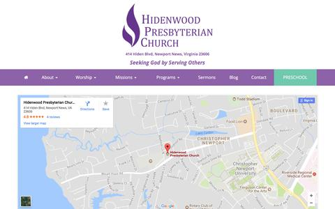 Screenshot of Maps & Directions Page hidenwood.org - Directions – Hidenwood Presbyterian Church - captured Aug. 5, 2017