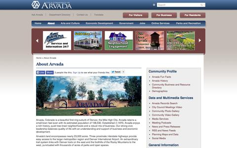 Screenshot of About Page arvada.org - About Arvada - captured Sept. 24, 2014