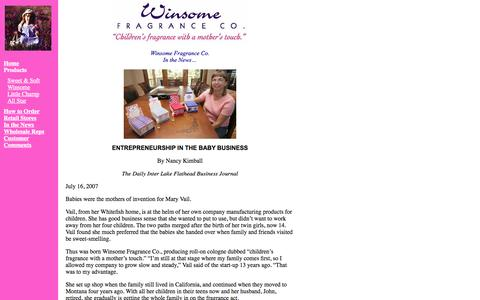 Screenshot of Press Page kidsfragrance.com - In The News «  Winsome Fragrance Co. - captured Oct. 7, 2014