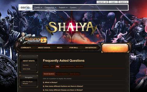 Screenshot of FAQ Page aeriagames.com - FAQ | Shaiya Episode 8 - Aeria Games - Free MMORPG at Aeria Games - captured July 10, 2018