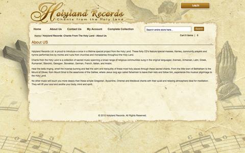 Screenshot of About Page holylandrecords.com - Holyland Records -Chants From The Holy Land - About  Us - captured Jan. 30, 2016
