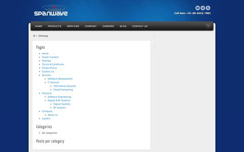 Screenshot of Site Map Page spanwave.com - Sitemap | SPANWAVE - captured Oct. 6, 2014