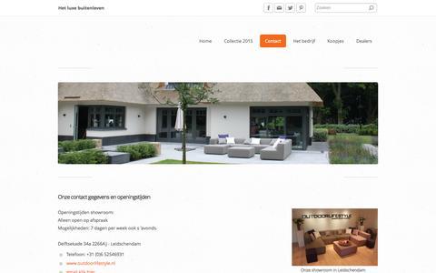 Screenshot of Contact Page outdoorlifestyle.nl - Outdoor Lifestyle onze contact gegevens - De specialist voor exclusieve loungemeubelen in Zuid en Noord Holland - captured Aug. 12, 2015
