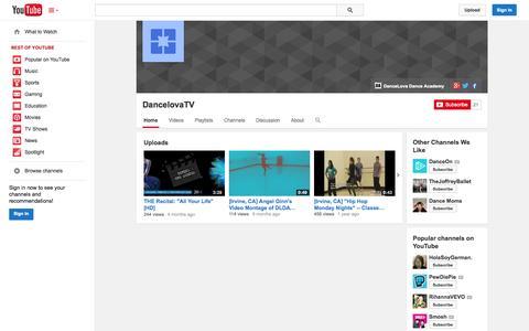 Screenshot of YouTube Page youtube.com - DancelovaTV  - YouTube - captured Oct. 23, 2014