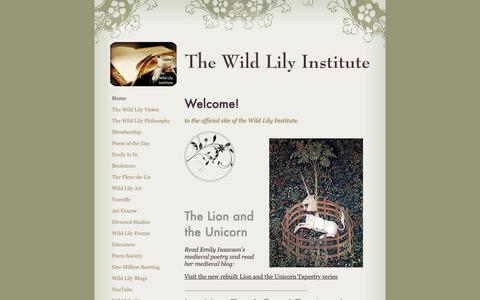Screenshot of Home Page emilyisaacsoninstitute.com - The Wild Lily Institute - Home - captured Oct. 20, 2018