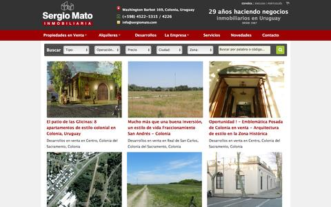 Screenshot of Home Page sergiomato.com - Inmobiliaria en Colonia, Uruguay | Propiedades | Sergio Mato Inmobiliaria - captured June 15, 2016