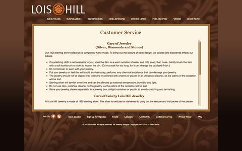 Screenshot of Support Page loishill.com - Lois Hill: Intricately Detailed Sterling Silver Jewelry - captured Oct. 2, 2014