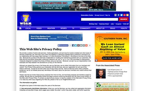 Screenshot of Privacy Page wdam.com - This Web Site's Privacy Policy - WDAM - TV 7 - News, Weather and Sports - captured Sept. 22, 2014