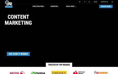 Screenshot of Home Page iprsoftware.com - PR, Marketing and Social Media Solutions | iPR Software - captured Jan. 9, 2016