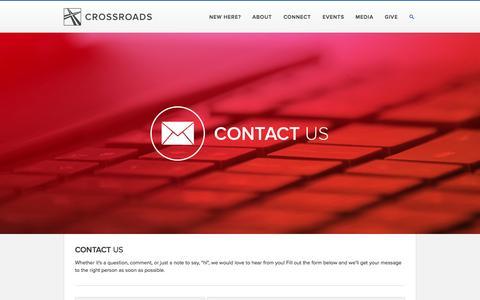 Screenshot of Contact Page crossroadschristian.org - Contact Us — Crossroads Christian Church - captured Oct. 3, 2014