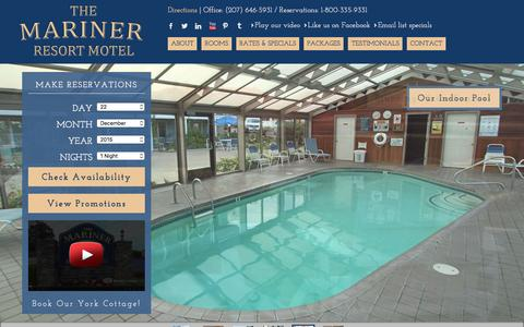 Screenshot of Home Page marinerresort.com - Mariner Resort Motel | Ogunquit Maine Beach Vacations - captured Dec. 22, 2015