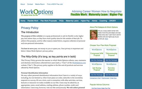 Screenshot of Privacy Page workoptions.com - Privacy Policy - Work Options - captured Sept. 19, 2014