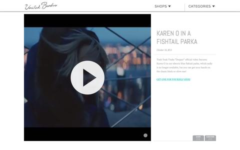 Screenshot of unitedbamboo.com - KAREN O IN A FISHTAIL PARKA  |  United Bamboo - captured March 19, 2016