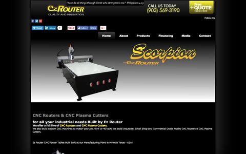 Screenshot of Home Page ez-router.com - CNC Routers! CNC Router Tables to Fit Your Job. Built at our Manufacturing Plant in Mineola Texas - USA - captured Sept. 20, 2017