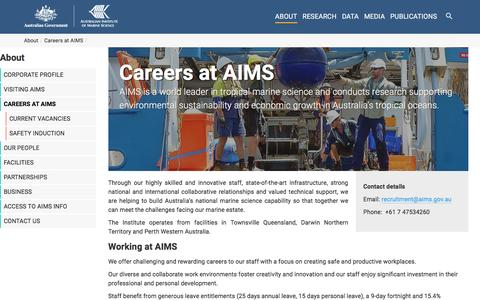Screenshot of Jobs Page aims.gov.au - Working at AIMS - AIMS - captured July 23, 2016