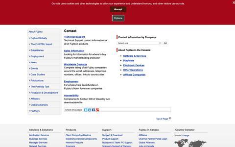 Screenshot of Contact Page fujitsu.com - Contact - Fujitsu Canada - captured Oct. 11, 2018