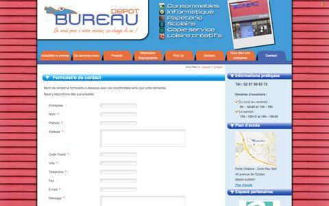 Screenshot of Contact Page bureau-depot56.com - Contacter Bureau Dépot à Auray - captured May 24, 2016