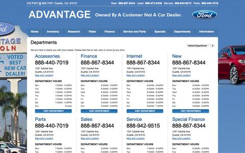 Screenshot of Hours Page advantageford.com - Ford Dealership | Los Angeles | Business Hours & Phone Numbers - captured Oct. 4, 2014